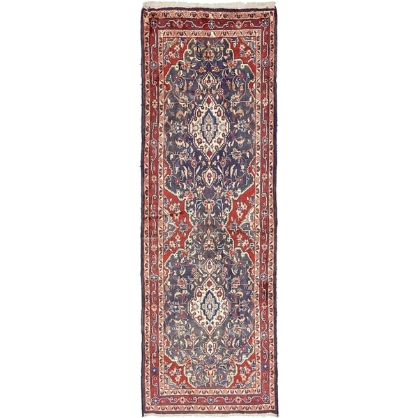 Hand Knotted Shahrbaft Semi Antique Wool Runner Rug - 3' 7 x 10' 5