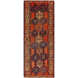 Hand Knotted Shiraz Semi Antique Wool Runner Rug - 4' 4 x 11' 7