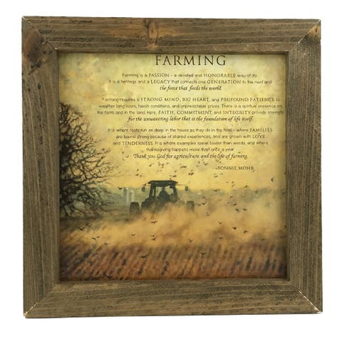 Farming Quote Print with Rustic Reclaimed Tobacco Lath Board Frame