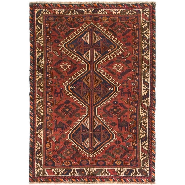 Hand Knotted Shiraz Semi Antique Wool Area Rug - 3' 8 x 5' 3