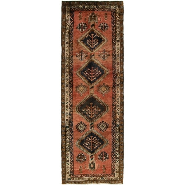 Hand Knotted Shiraz Semi Antique Wool Runner Rug - 3' 2 x 9' 7