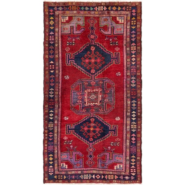 Hand Knotted Shiraz Semi Antique Wool Runner Rug - 4' x 7' 8