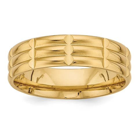 14 Karat Yellow Gold Standard Comfort Fit Fancy Band by Versil