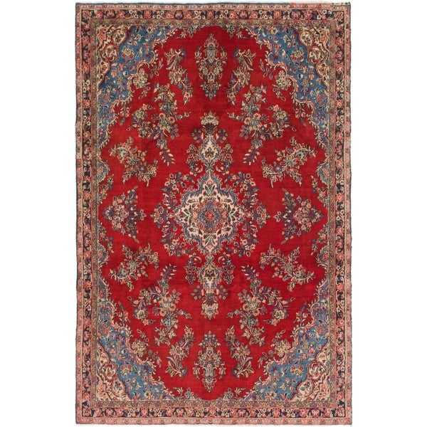 Hand Knotted Shahrbaft Semi Antique Wool Area Rug - 6' x 9' 5