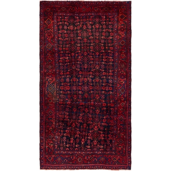 Hand Knotted Shiraz Semi Antique Wool Area Rug - 5' 5 x 10'