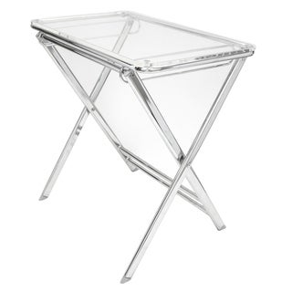 LeisureMod Victorian Lucite Acrylic Clear Foldable End Side Table Tray