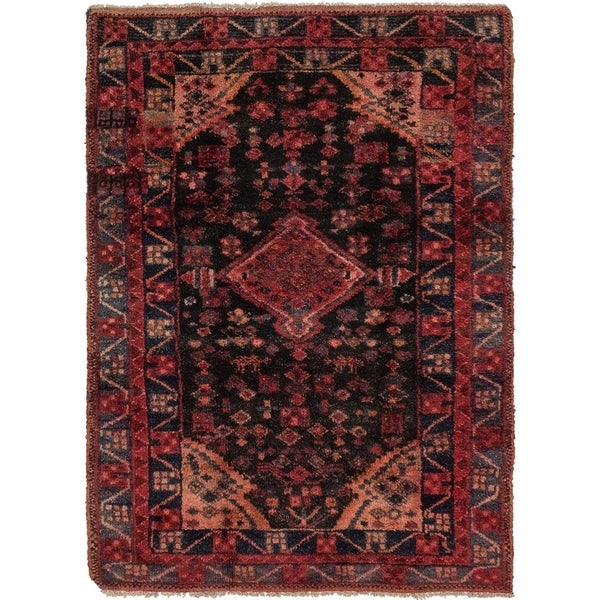 Hand Knotted Shiraz Semi Antique Wool Area Rug - 4' x 5' 7