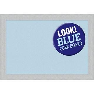 Framed Blue Cork Board, Shiplap White