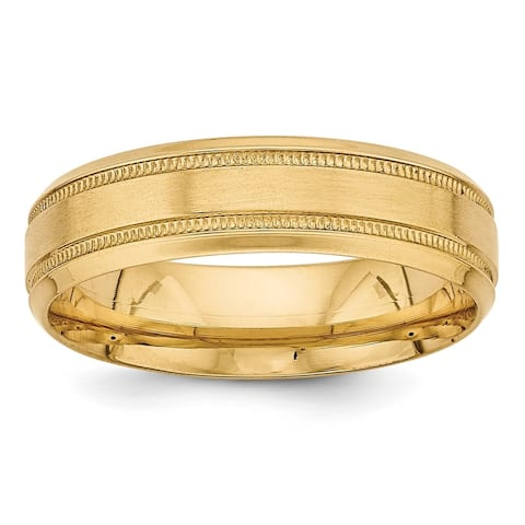 14K Yellow Gold Polished and Satin Light Comfort Fit Fancy Band by Versil