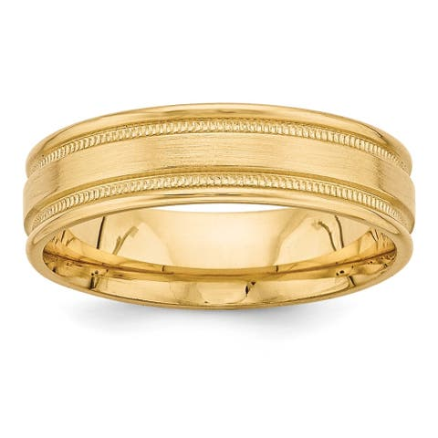 14K Yellow Gold Standard Comfort Fit Brushed Fancy Band by Versil