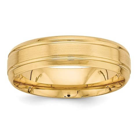 14K Yellow Gold Standard Comfort Fit Brush Satin Fancy Band by Versil