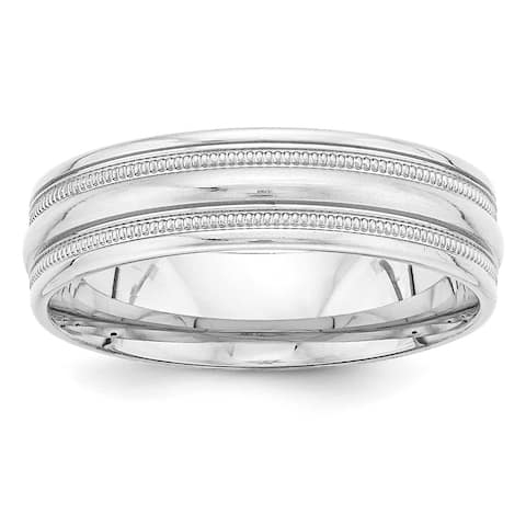 14 Karat White Gold Heavy Comfort Fit Fancy Band by Versil