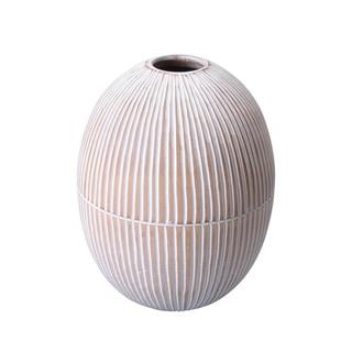 """Villacera Handmade 10"""" Tall Oval Mango Wood Vase Carved Lines"""