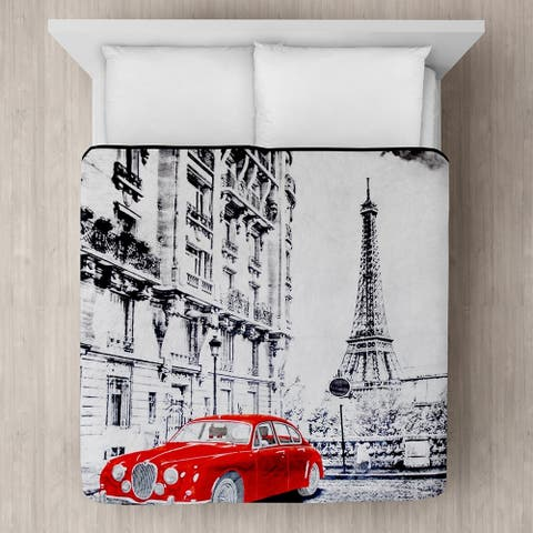 Red Car in Paris Micro Mink Blanket