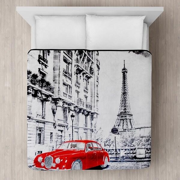 Red Car in Paris Micro Mink Blanket