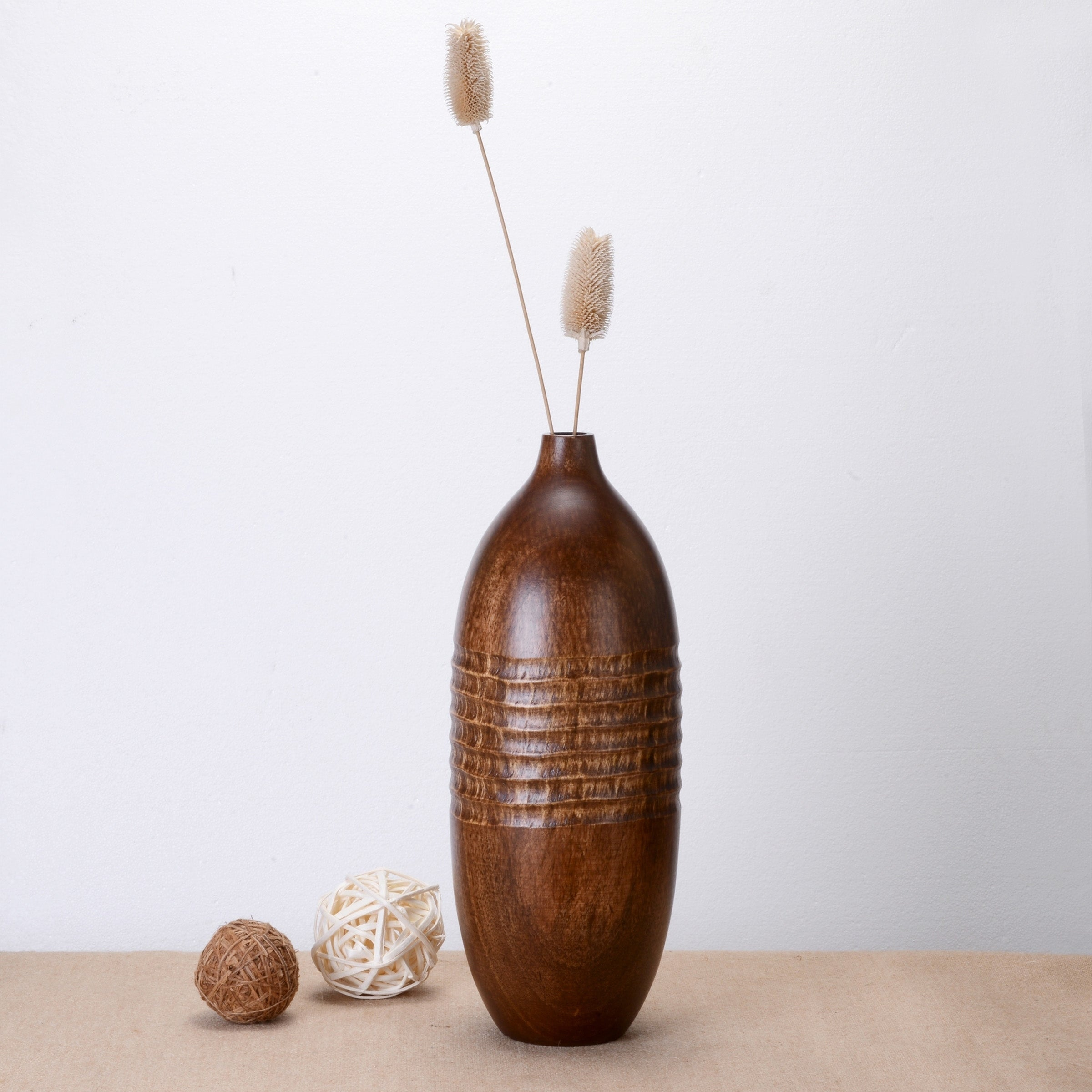 Villacera Scraped 15 Tall Round Mango Natural Decorative Hand Carved Rustic Vase Eco-Friendly and Sustainable Wood