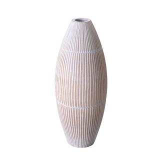 "Villacera Handmade 15"" Tall Oval Vase Mango Wood Hand Carved Lines"