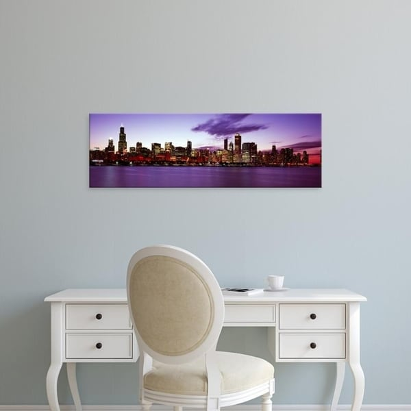 Easy Art Prints Panoramic Images's 'Buildings at the waterfront, Lake Michigan, Chicago, Cook Illinois' Premium Canvas Art