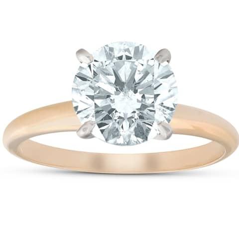 Pompeii3 14k Yellow Gold 2.27 ct Round Shape Diamond Solitaire Engagement Ring Clarity Enhanced (I/S2-I1)