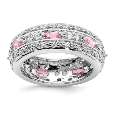 Sterling Silver Rhodium-plated Pink and Clear Cubic Zirconia Band by Versil