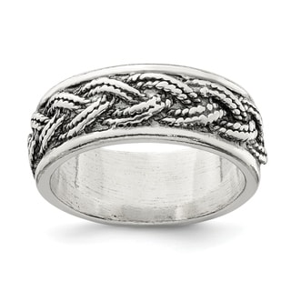 Versil Sterling Silver Rope Weave Design Ring
