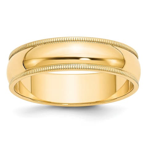 Sterling Silver Gold Plated 6mm Half Round Milgrain Band Size - 10 by Versil