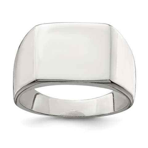 Sterling Silver 12x14mm Closed Back Signet Ring by Versil