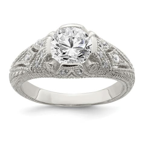 Sterling Silver CZ Antique Look Ring by Versil