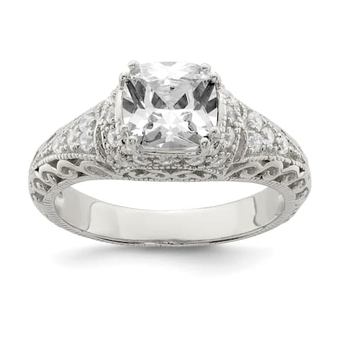 Sterling Silver Polished White Cubic Zirconia 2.5mm Ring by Versil