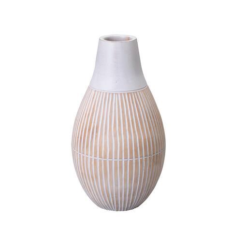 Villacera Handmade Round Vase Mango Wood Tear Drop Shape