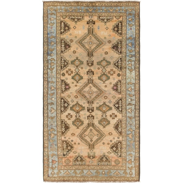 Hand Knotted Shiraz Antique Wool Runner Rug - 5' x 9' 5