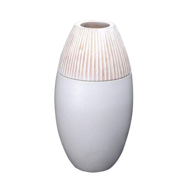 Villacera Handmade Round Vase Mango Wood Oval Shape