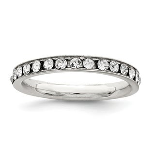 Versil Sterling Silver Crystal Eternity Band