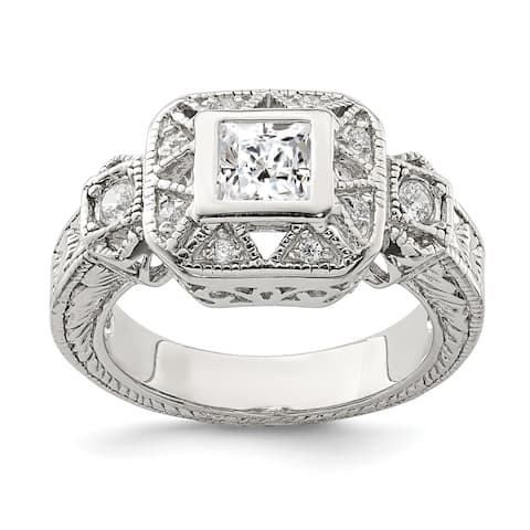 Versil Sterling Silver CZ Antique Style Ring