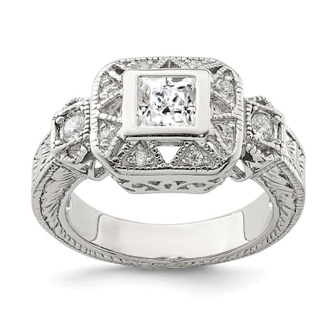 Sterling Silver Rhodium-Plated Cubic Zirconia Antique Style Ring by Versil