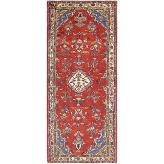 Hand Knotted Shahrbaft Semi Antique Wool Runner Rug - 3' 4 x 8' 7