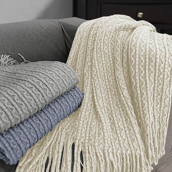 Simon Lightweight Cable Knit Throw