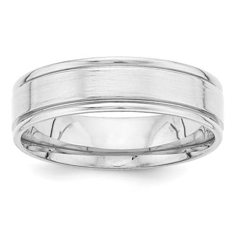 14K White Gold Heavy Weight Comfort Fit Fancy Wedding Band by Versil