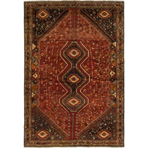 Hand Knotted Shiraz Semi Antique Wool Area Rug - 7' 4 x 10' 5