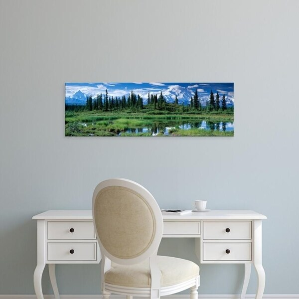 Easy Art Prints Panoramic Images's 'Reflection of trees, Mt McKinley, Denali National Park, Alaska' Premium Canvas Art