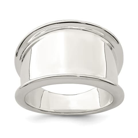 Versil Sterling Silver 15mm Tapered Ring