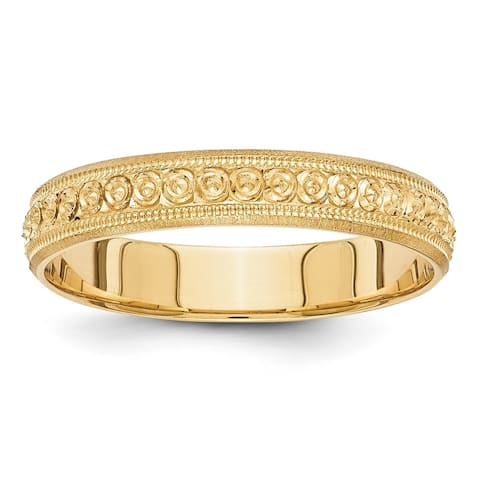 14 Karat Yellow Gold 3mm Design Etched Wedding Band by Versil