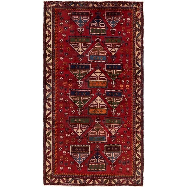 Hand Knotted Shiraz Antique Wool Area Rug - 5' 4 x 9' 10