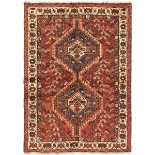 Hand Knotted Shiraz Semi Antique Wool Area Rug - 3' 6 x 5'