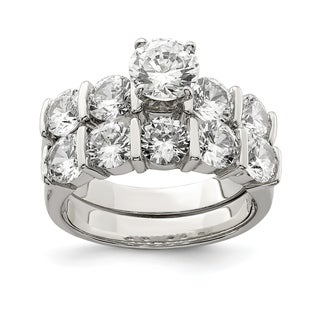 Versil Sterling Silver 2 Piece CZ Wedding Ring