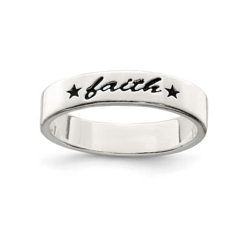 Versil Sterling Silver Antiqued and Polished Faith Ring