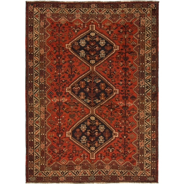 Hand Knotted Shiraz Semi Antique Wool Area Rug - 7' 5 x 10'