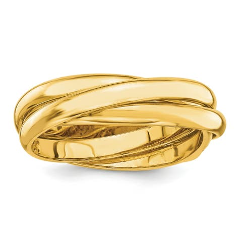 14K Yellow Gold Polished 6mm Rolling Hollow Wedding Band by Versil
