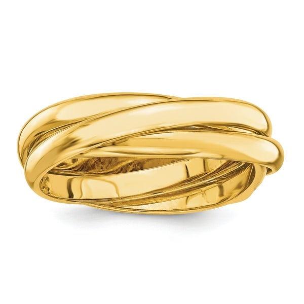 14K Yellow Gold Polished 6mm Rolling Hollow Wedding Band by Versil. Opens flyout.