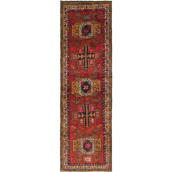 Hand Knotted Shiraz Antique Wool Runner Rug - 4' x 12'